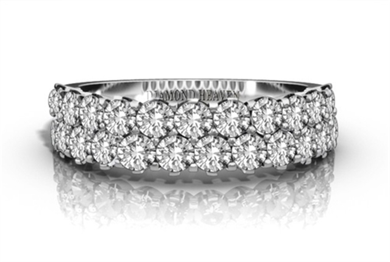 Half pave eternity ring