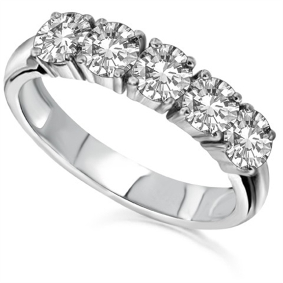 Half prong diamond eternity ring