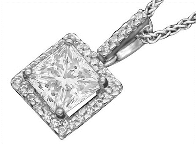 Diamond Halo Pendant Princess Cut