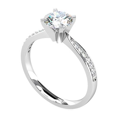 Round Shoulder Set Diamond Engagement Ring DHRX4189 Image