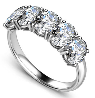5 Stone Oval Diamond Half Eternity Ring DHAN501 Image