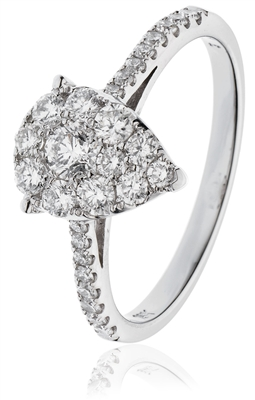 0.60CT Modern Pear Shaped Round Diamond Cluster Ring DHLMJDNR0806 Image