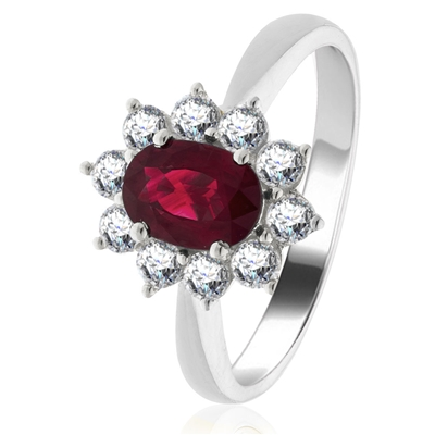 0.80ct Ruby & Diamond Cluster Ring DHLMJBJR0248RYC Image