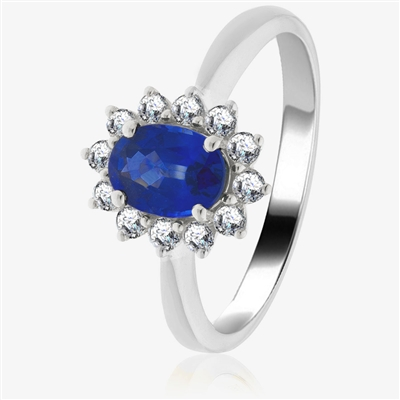 1.30CT Blue Sapphire & Diamond Halo Engagement Ring DHLMJBJR0307BSC Image