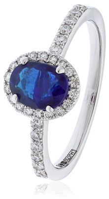 1.10CT Blue Sapphire & Diamond Halo Ring DHLMJSL7451BSC Image