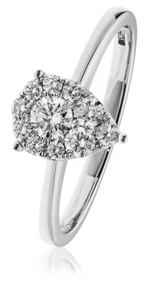 0.30CT Modern Pear Shaped Round Diamond Cluster Ring DHLMJXYR11922 Image