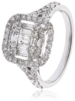 1.00CT Modern Round and Baguette Diamond Halo Cluster Ring DHLMJSL7216 Image
