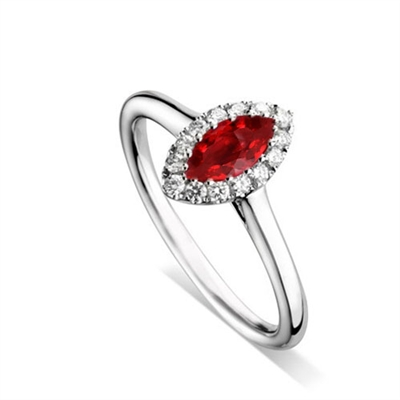 Marquise Ruby & Diamond Halo Ring DHDOMDSC47RYC Image