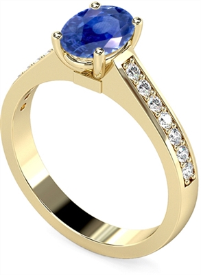 Oval Blue Sapphire & Diamond Halo Ring DHMTSS717BSC Image