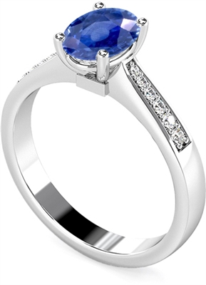 Oval Blue Sapphire & Diamond Halo Ring DHMTSS914BSC Image