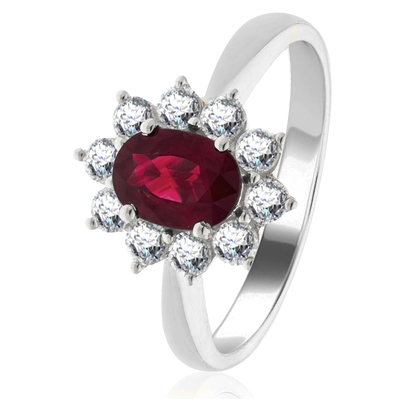1.60ct Ruby & Diamond Cluster Ring DHLMJBJR0249RYC Image