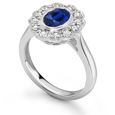 Oval Blue Sapphire & Diamond Halo Ring DHRX2386BSC Image