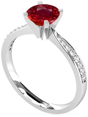 Round Ruby & Diamond Shoulder Set Ring DHRX4189RYC Image