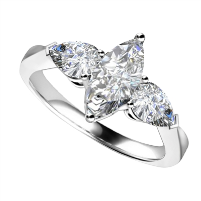 Unique Marquise & Pear Diamond Trilogy Ring DHRZ0111 Image