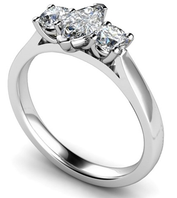 Modern Marquise & Round Diamond Trilogy Ring DHMT03412 Image