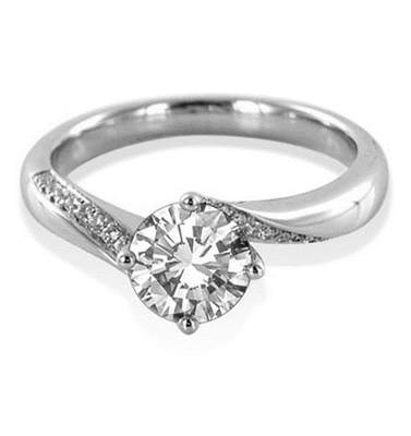 Round Shoulder Set Diamond Engagement Ring DHDOMDSR28 Image