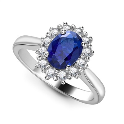 Oval Blue Sapphire & Diamond Cluster Ring DHRX5333BSC Image
