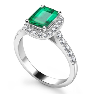 Emerald & Diamond Single Halo Shoulder Set Ring DHRX6638EMC Image