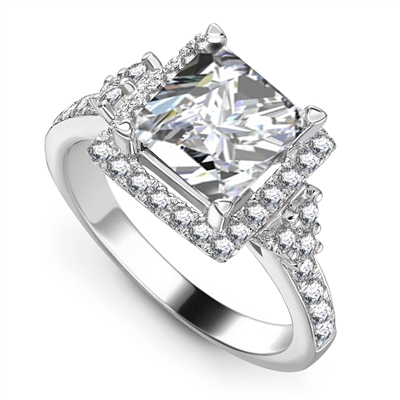 Princess Diamond Single Halo Designer Ring DHAR0041 Image
