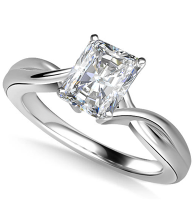 Modern Intertwined Radiant Diamond Engagement Ring DHAN516RAD Image