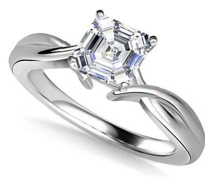 Modern Intertwined Asscher Diamond Engagement Ring DHAN516AS Image