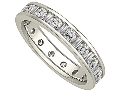 1.25ct Round & Baguette Diamond Full Eternity Ring DHJXE2105FETCRDBG Image