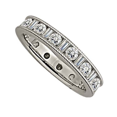 1.50ct Milgrain Round & Baguette Diamond Full Eternity Ring DHJXE2182FETCRDBGM Image