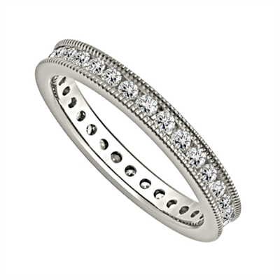 1.00ct Milgrain Elegant Round Diamond Full Eternity Ring DHJXE01438FETCRDM Image