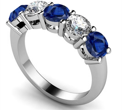 5 Stone Diamond & Blue Sapphire Half Eternity Ring DHMT05102BS Image