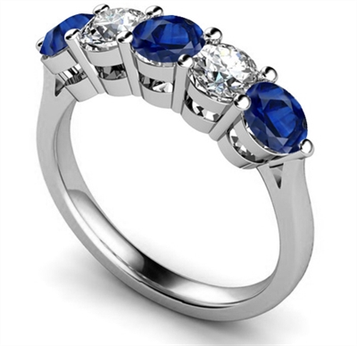 5 Stone Diamond & Blue Sapphire Half Eternity Ring DHMT05112BS Image