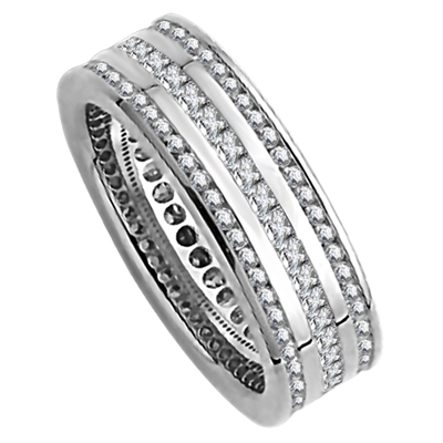 1.50ct 3 Row Diamond Full Eternity/Dress Ring DHJXE2147FETCRDPRN Image