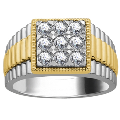 5mm Mens Round Diamond Ring DHJXJOS324GNTS Image
