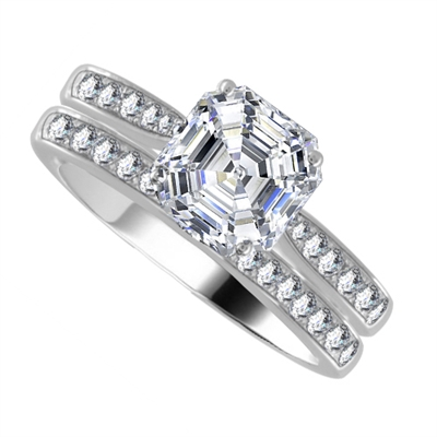 Asscher Diamond Shoulder Set Ring With Matching Band DHDOMDSX11ASWG925R125  Image