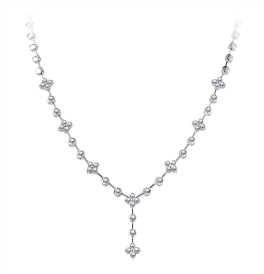 Elegant Floral Y Shaped Round Diamond Necklace DHDOMHN143 Image