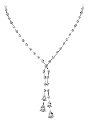 Elegant Round Diamond Two Drop Necklace DHDOMHSN1032 Image