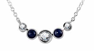 Round Diamond & Blue Sapphire Necklace DHDOMHSN1026BS Image
