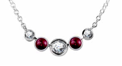 Round Diamond & Ruby Necklace DHDOMHSN1026RU Image