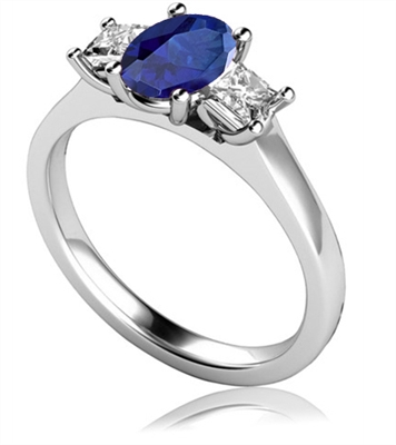 Oval Blue Sapphire & Diamond Trilogy Ring DHMT03434BSC Image