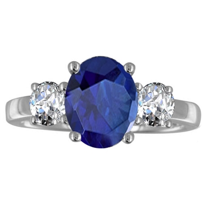 Oval Blue Sapphire & Diamond Trilogy Ring DHRX3006BSC Image