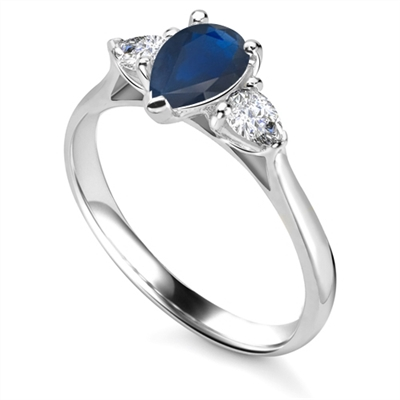 Elegant Pear Blue Sapphire Diamond Trilogy Ring DHRX4912BSC Image