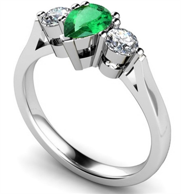 Pear Emerald & Diamond Trilogy Ring DHMT03336EMC Image