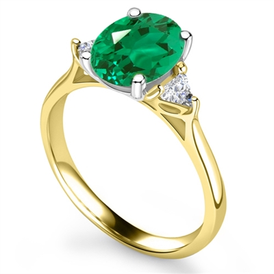 Elegant Emerald Diamond Trilogy Ring DHRX4916EMC Image