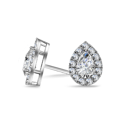 Pear Diamond Single Halo Earrings DHAN602 Image