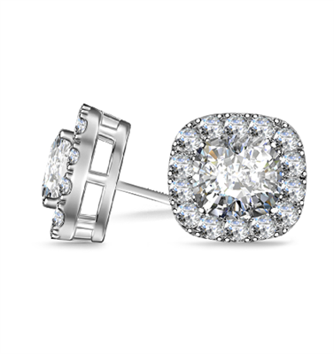 Cushion Diamond Single Halo Earrings DHAN605 Image