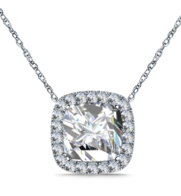 Cushion Shaped Diamond Single Halo Pendant DHAN612 Image
