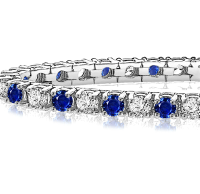 Classic Single Row Blue Sapphire and Diamond Tennis Bracelet DHAN617BS Image