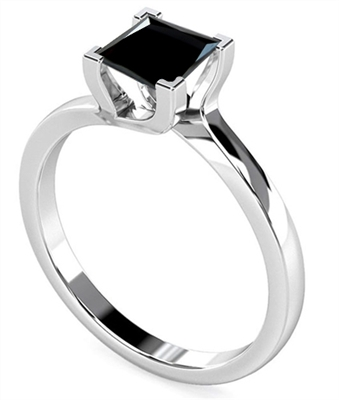 Princess Black Diamond Solitaire Ring DHDOMR1139BLK Image