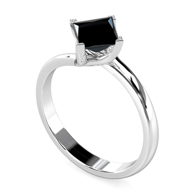 Princess Black Diamond Solitaire Ring DHDOMR1140BLK Image