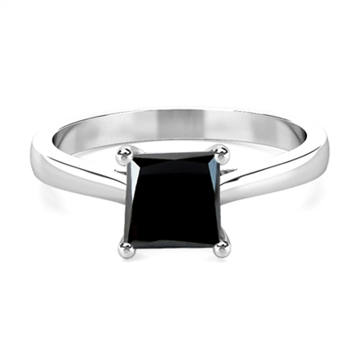 Princess Black Diamond Solitaire Ring DHMTSS597BLK Image