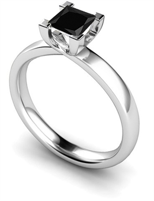 Princess Black Diamond Solitaire Ring DHMTSS650BLK Image